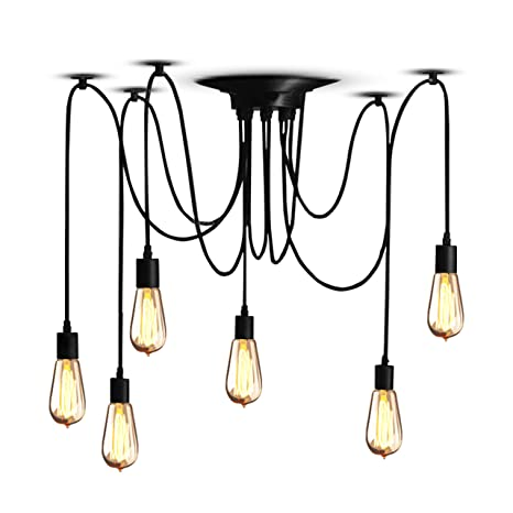 Veesee 6 Arms Industrial Ceiling Spider Lamp Fixture,Home DIY E26 Edison  Bulb Chandelier Lighting,Metal Pendant Lights,Retro Chic Drop-light for ...