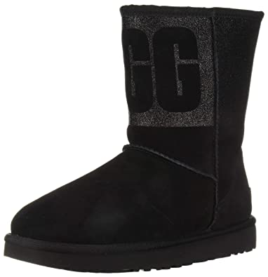 35eebeeffbd UGG Australia Damen Stiefeletten Classic Short Logo Sparkle Boot  1096472-BLK schwarz 572691,
