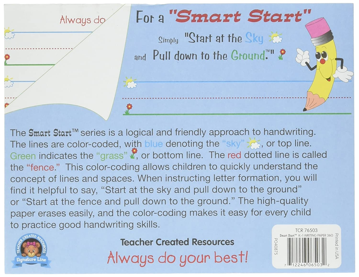 Amazon Teacher Created Resources Smart Start K1 Writing – 3 Line Writing Paper