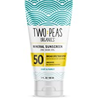 Two Peas Organics - All Natural Organic SPF 50 Sunscreen Lotion - Coral Reef Safe - Baby, Kid & Family Friendly…