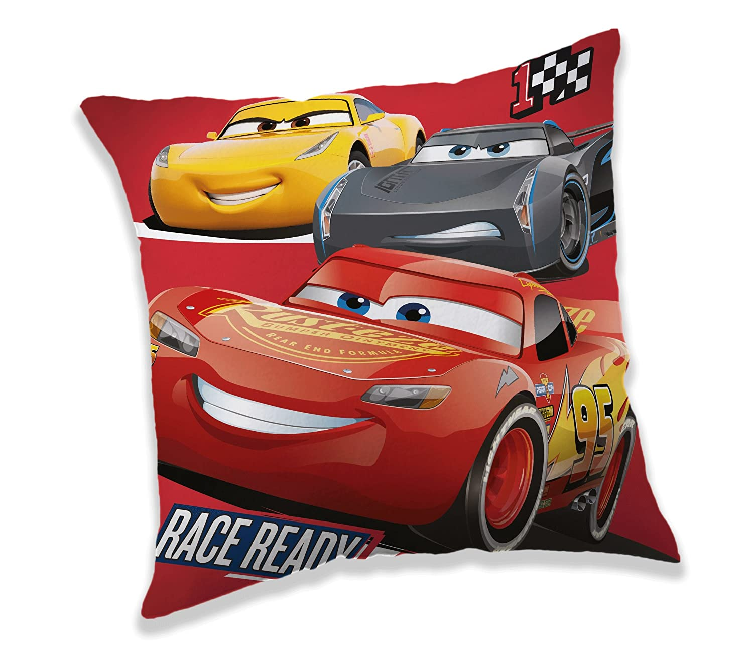 Jerry Fabrics Disney Cars Character Cushion Decorative Throw Pillows for Kids, Polyester, Multi-Colour, 40 x 40 x 5 cm JERRY FABRICS s.r.o. 17CS242