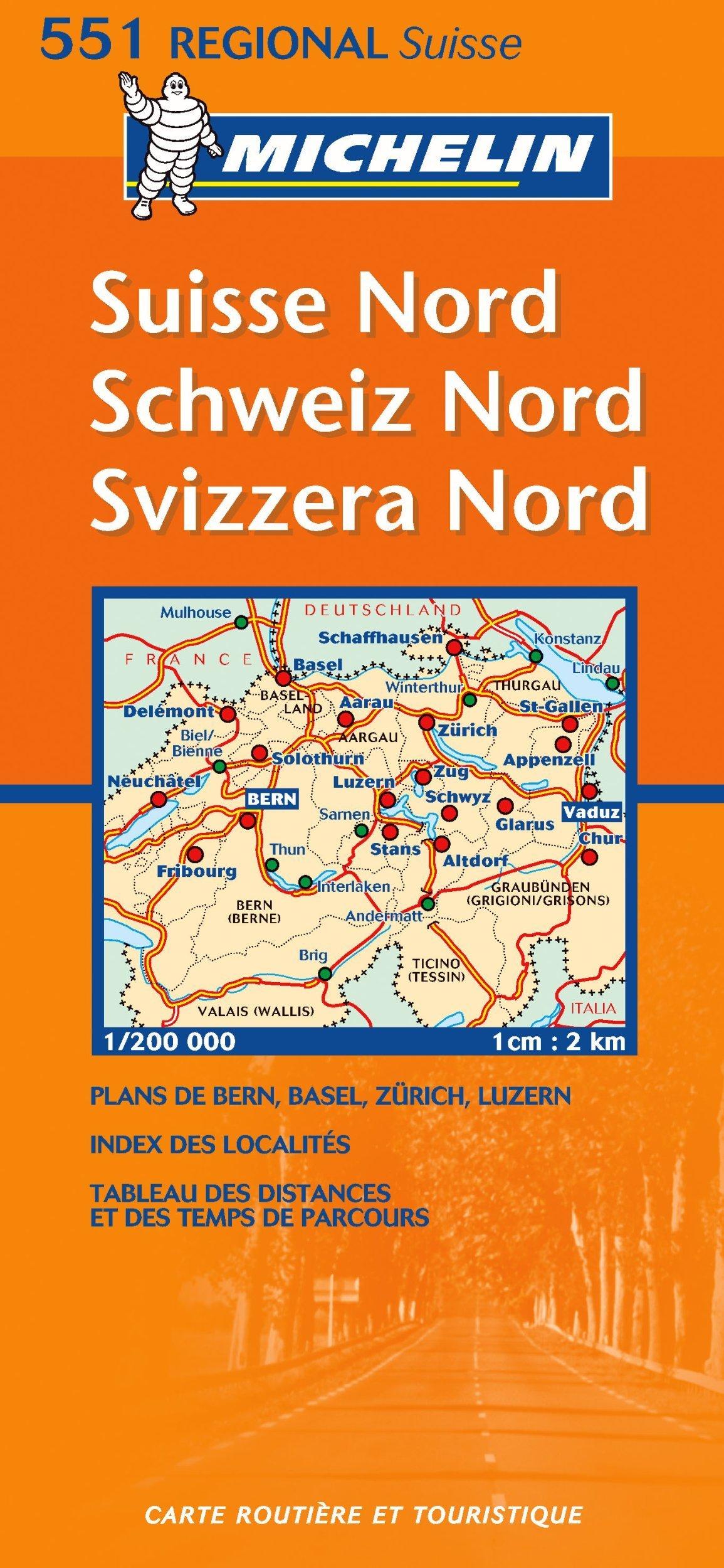 Suisse Nord. Schweiz Nord. Svizzera Nord. 1 : 200 000: Strassenkarte mit touristischen Hinweisen