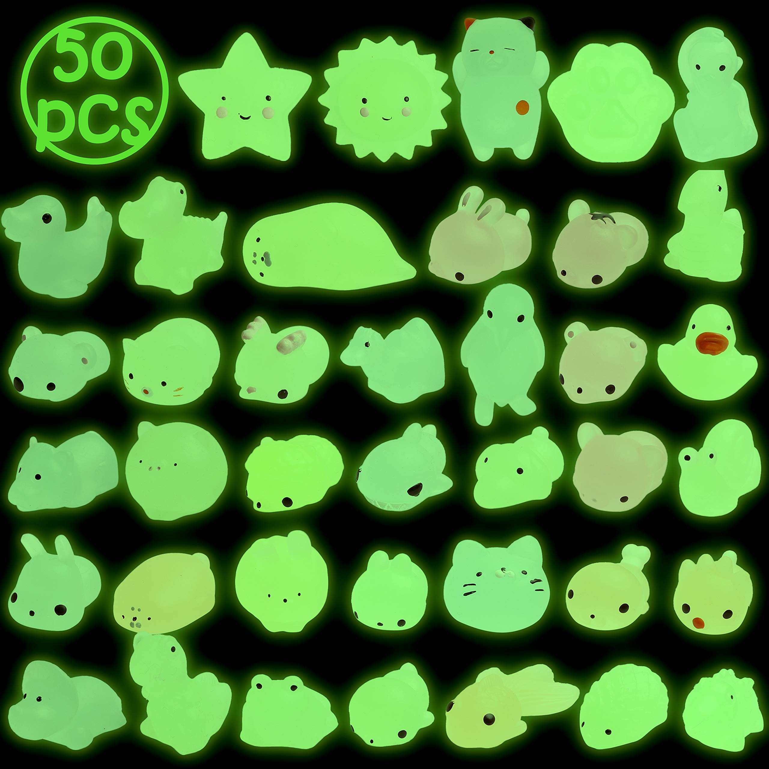BeYumi Glow in The Dark Mochi Squishy Toys, 50 Pcs Mini Animal Squeeze Stress Stretchy Toys Hand Toy Healing Stress Reliever for Kids & Adults