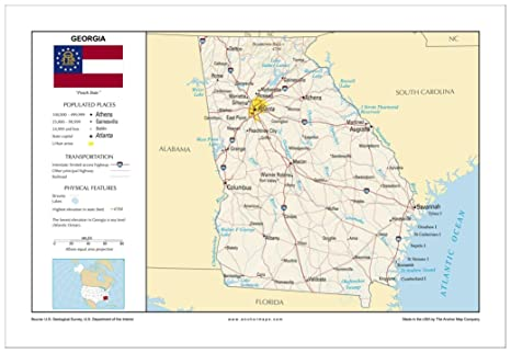 Amazon Com 13x19 Georgia General Reference Wall Map Anchor Maps