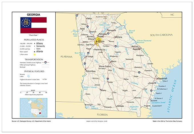 Map Of Florida And Georgia Cities.13x19 Georgia General Reference Wall Map Anchor Maps Usa Foundational Series Cities Roads Physical Features And Topography Rolled