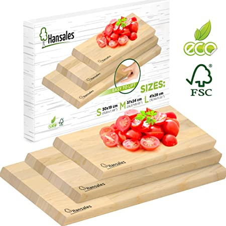 Hansales Wooden Chopping Boards Set - 4 Variations - FSC Approved - Eco-Friendly and Made from Birch Wood - Suitable for Cutting Bread Vegetables Fruit Meat Fish: Amazon.co.uk: Kitchen & Home