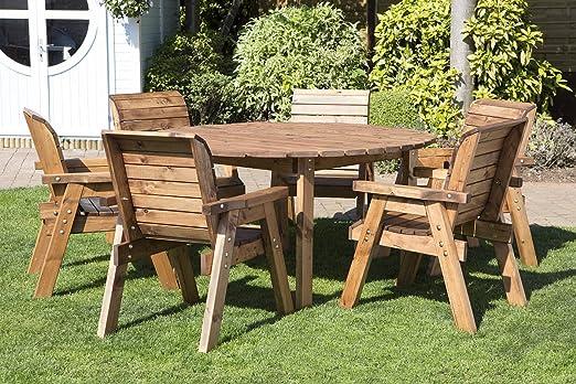 Redonda de madera mesa de jardín y 6 sillas juego de comedor ...