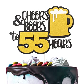 Cheers   Beers to 55 Years Gold Glitter Cake Topper Happy Birthday Wedding  Anniversary 55th Party cbe437390f