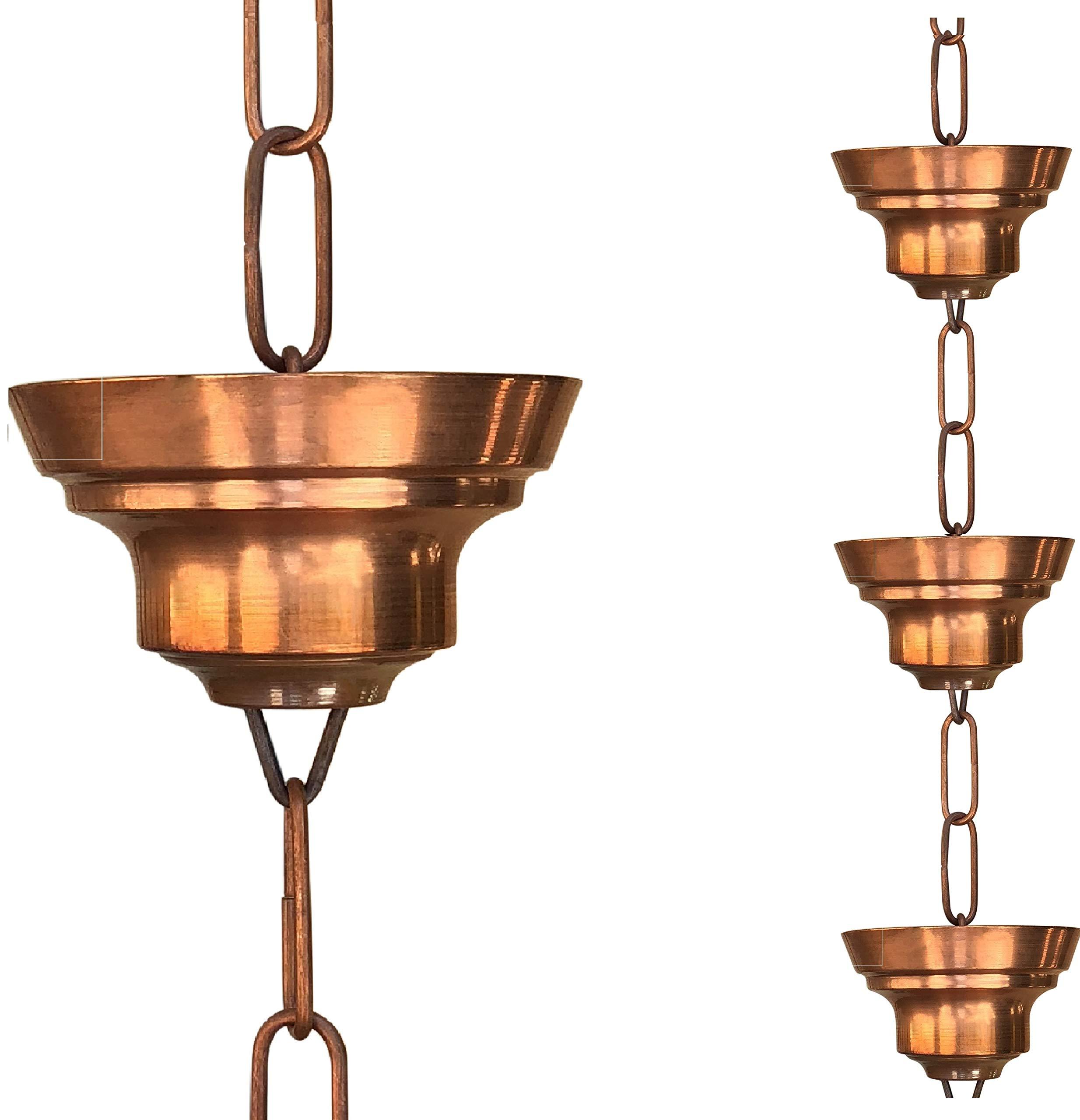 Monarch Pure Copper Tranquility Link Rain Chain, 8-1/2-Feet Length
