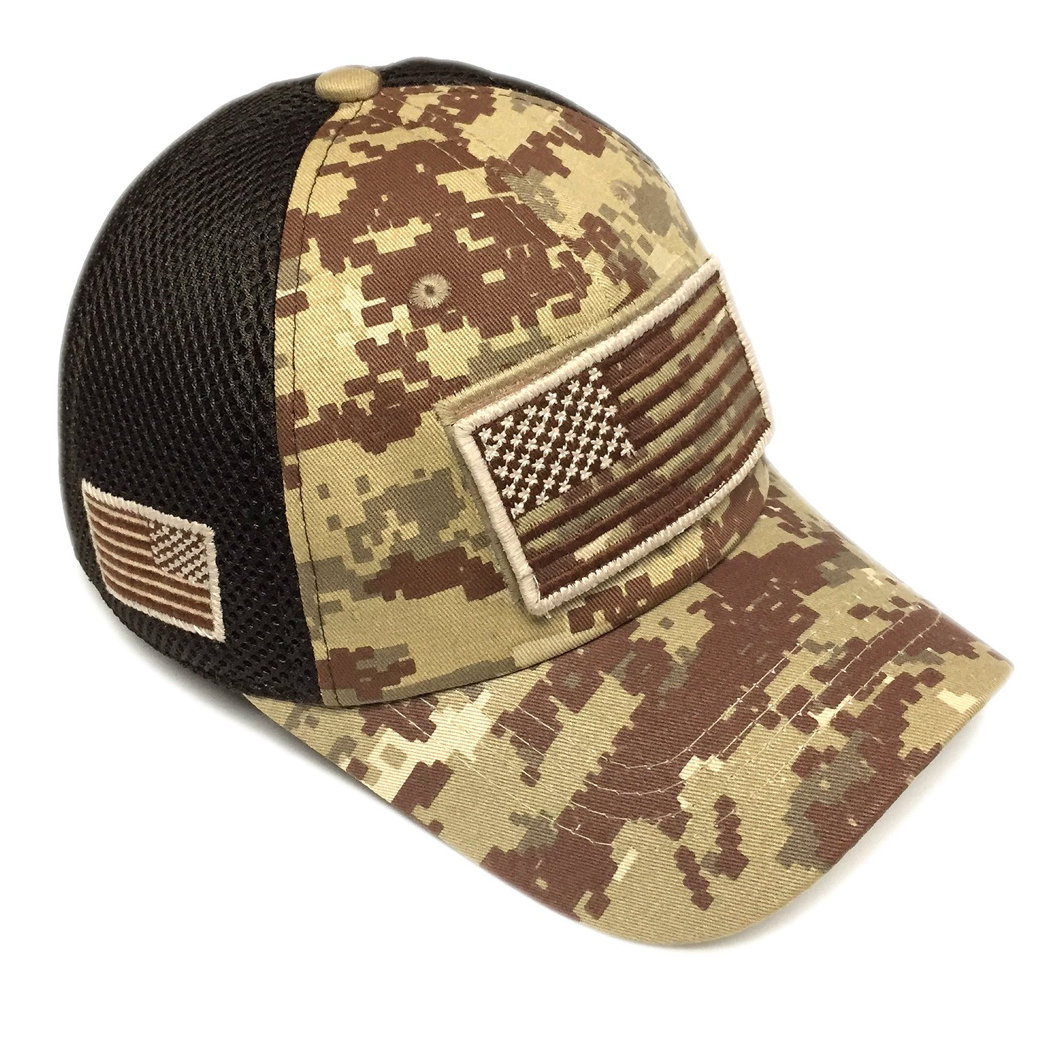 02f90d834b67a Pitbull Military Army Desert Khaki Brown Camo Vintage Cotton Cap USA Flag  Patch Trucker Mesh Baseball Hat Dad Hat Army Gear at Amazon Men s Clothing  store