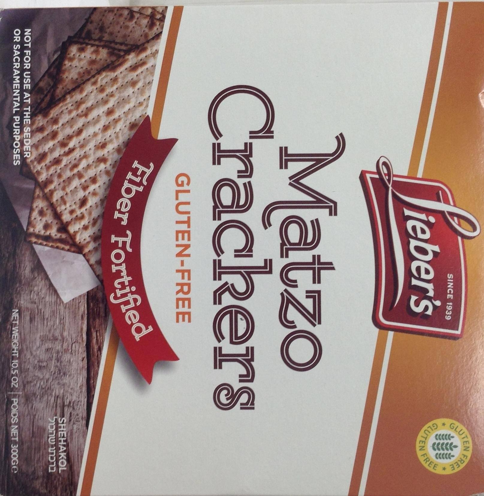 Lieber's Gluten Free Fiber Fortified Matzo Crackers Kosher For Passover - Pack of 6