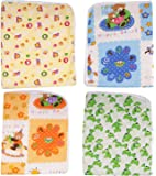 FARETO Baby One Sided Cotton Plastic Sheet Pack Of 4Pcs (Assorted)(0-6 Months)
