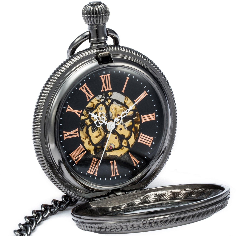 SEWOR Vintage Magnifier Skeleton Pocket Watch Black Flower Mechanical hand wind