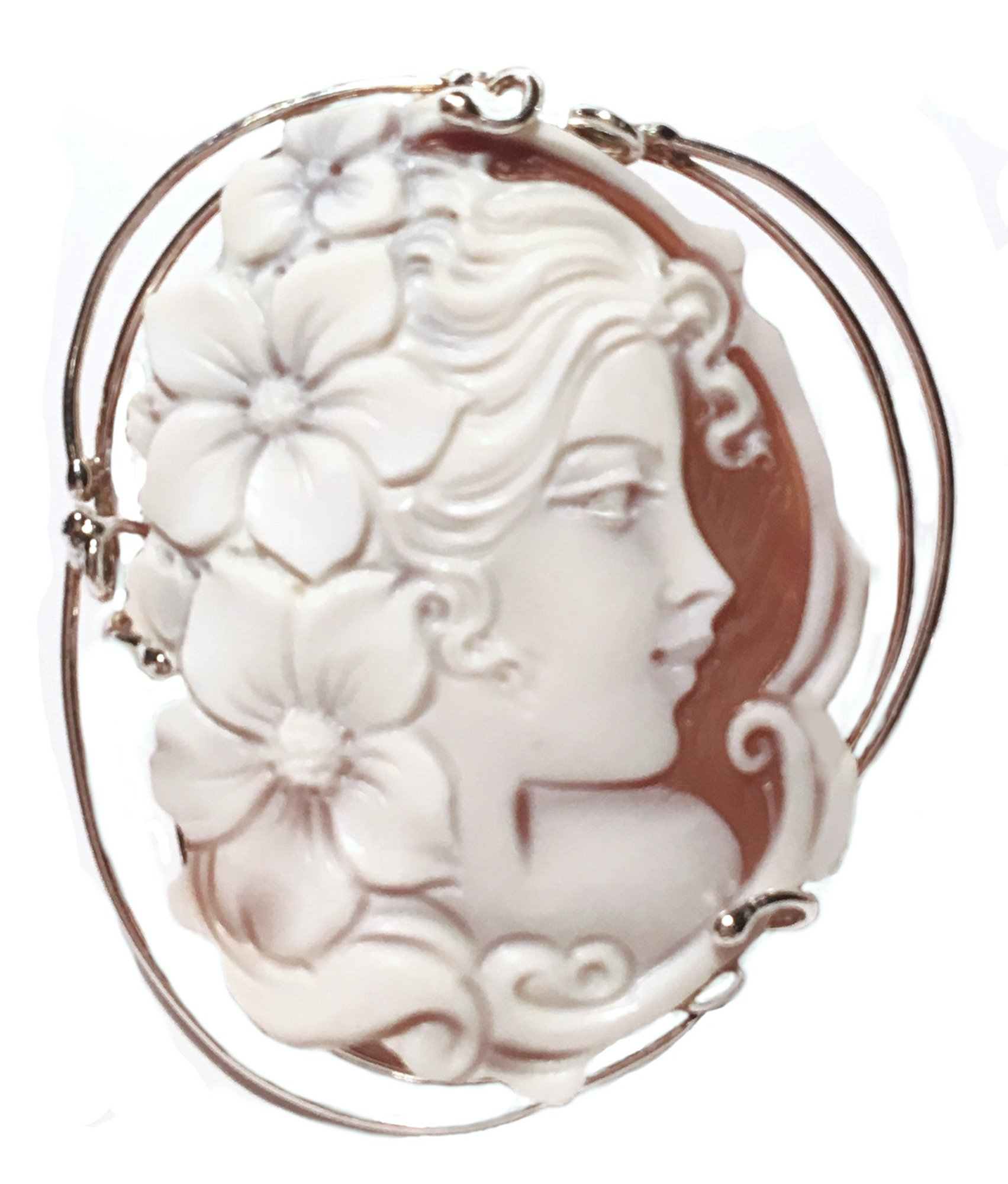 Cameo Pendant Summer Dream Sterling Silver Master Carved Italian Sardonyx Shell