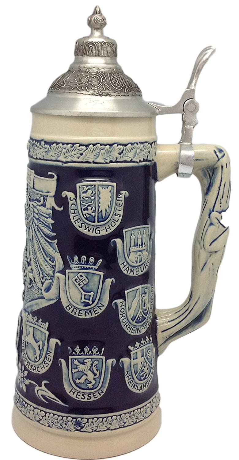 Germany Coats of Arms Collectible Beer Stein with Ornate Metal Lid Essence of Europe Gifts E.H.G 6T-SRYS-2YFW