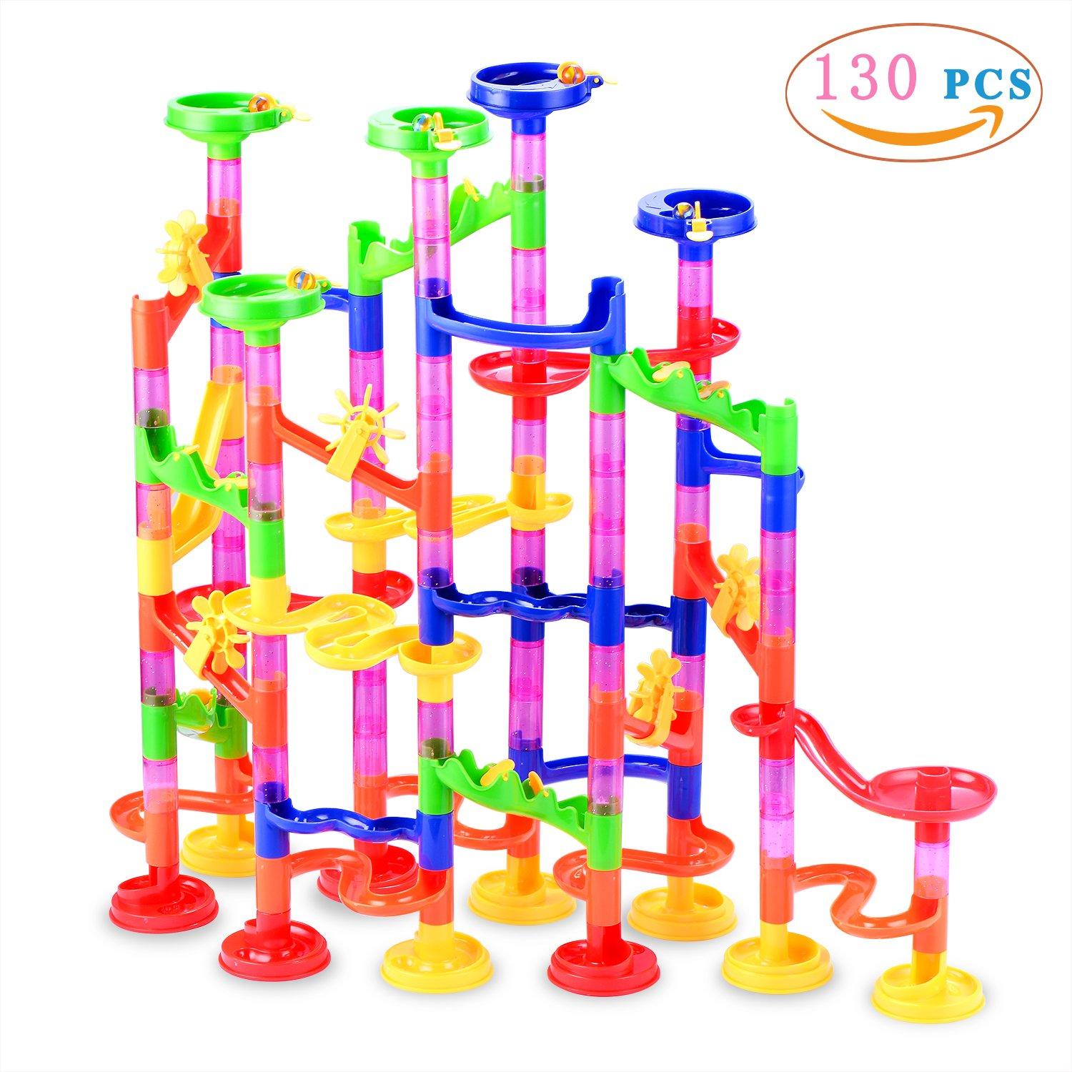 Marble Run Toy, Gifts2U 130Pcs Marbulous Marble Run Starter Construction Child Building Blocks Toys With Glass Marbles for Kids and Parent-child Marble Game