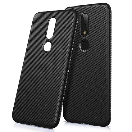SVIMO Flexible TPU Shockproof Back Cover for Nokia 6 1 Plus (Coal Black)