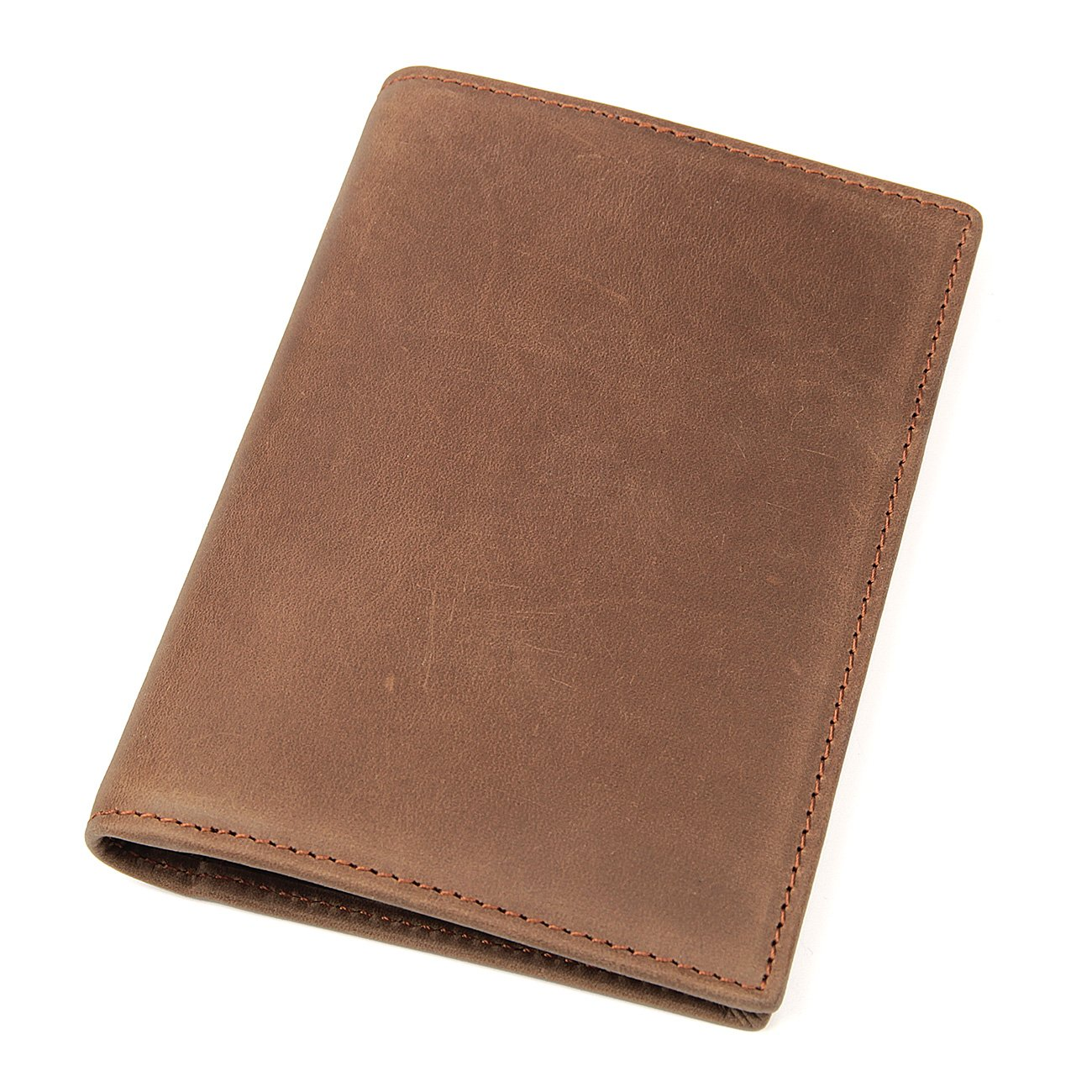 Polare Men's Slim RFID Blocking Leather Passport Holder Travel Bifold Wallet (Light Brown)