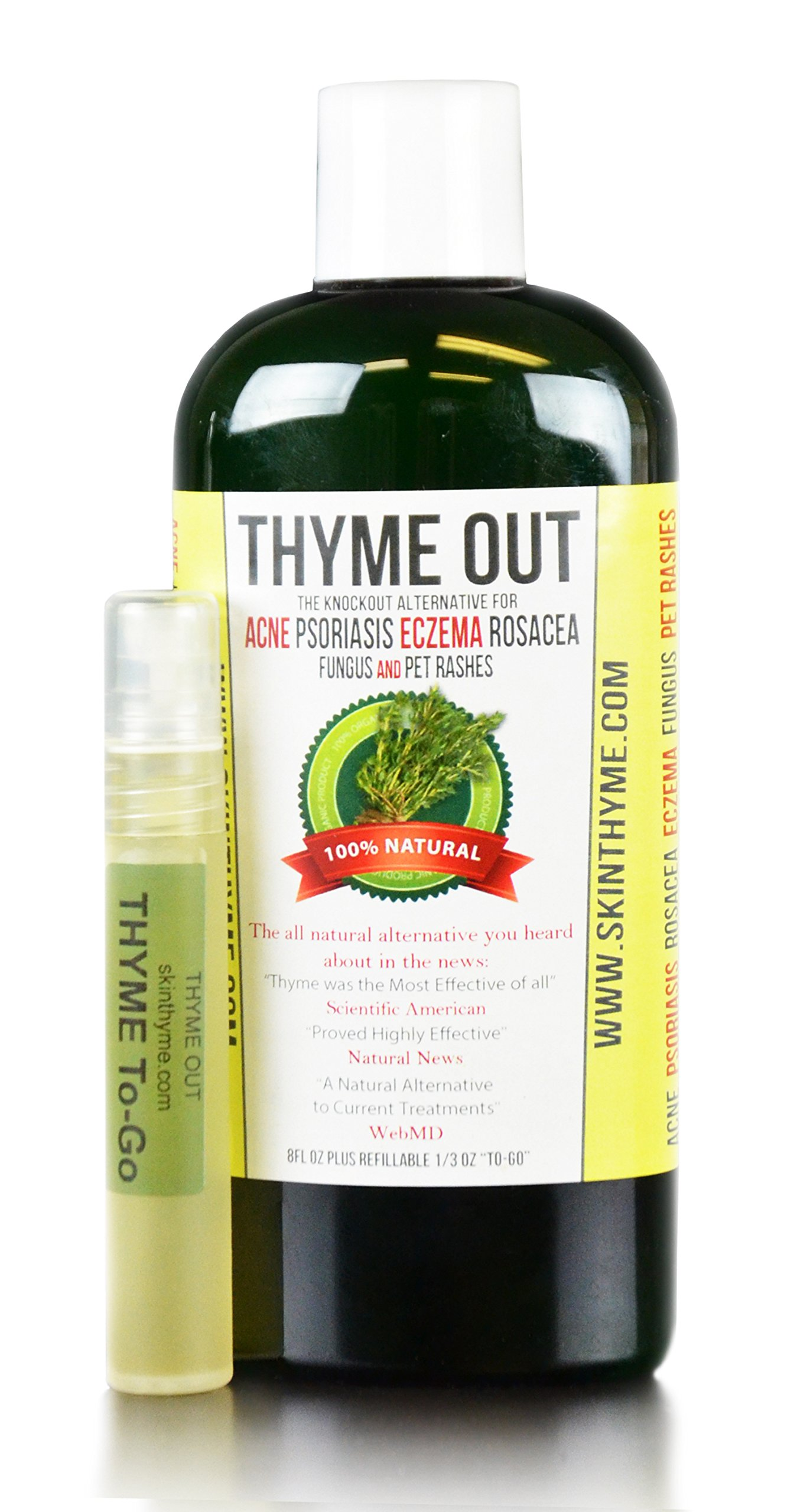 Thyme Out The Knockout Alternative For Eczema, Psoriasis, Acne, Dermatitis, Rosacea, Cold Sores, Pet Rashes, Bug Bites, Fungus, Poison Ivy, Any Skin Inflammation 1 8oz + 1/4oz ''To Go'' Bottle by Thyme Out (Image #1)