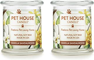 product image for One Fur All 100% Natural Soy Wax Candle, 20 Fragrances - Pet Odor Eliminator, Up to 60 hrs Burn Time, Non-Toxic, Reusable Glass Jar Scented Candles – Pet House Candle, Vanilla Sandalwood - Pack of 2
