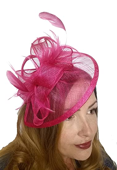 ff29493a52543 Fuchsia Hot Pink Sinamay   Feathers Teardrop Fascinator - Occasion Wedding  Races  Amazon.co.uk  Clothing