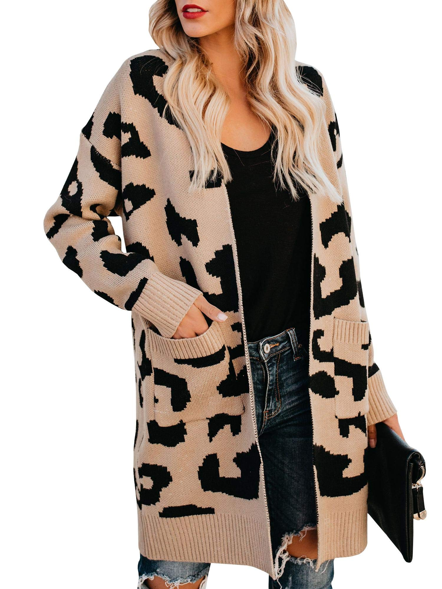 Soulomelody Msikiver Womens Fuzzy Leopard Print Cardigan Sweater Open Front Draped Duster Loose Knit Jacket with Pockets
