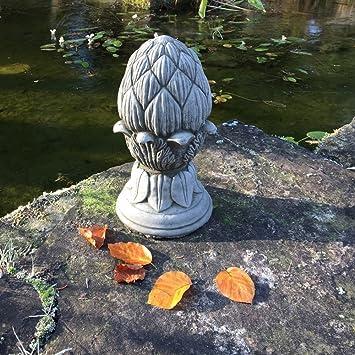 Antikas - figurín Pilar decoración piña de Abeto - Figuras de Piedra decoración jardín - Adorno decoración de jardín: Amazon.es: Jardín