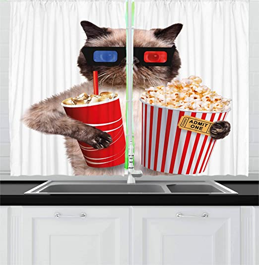 Amazon Com Ambesonne Movie Theater Kitchen Curtains Cat With Popcorn And Drink Watching Movie Glasses Entertainment Cinema Fun Window Drapes 2 Panel Set For Kitchen Cafe Decor 55 X 39 Cream Red Home