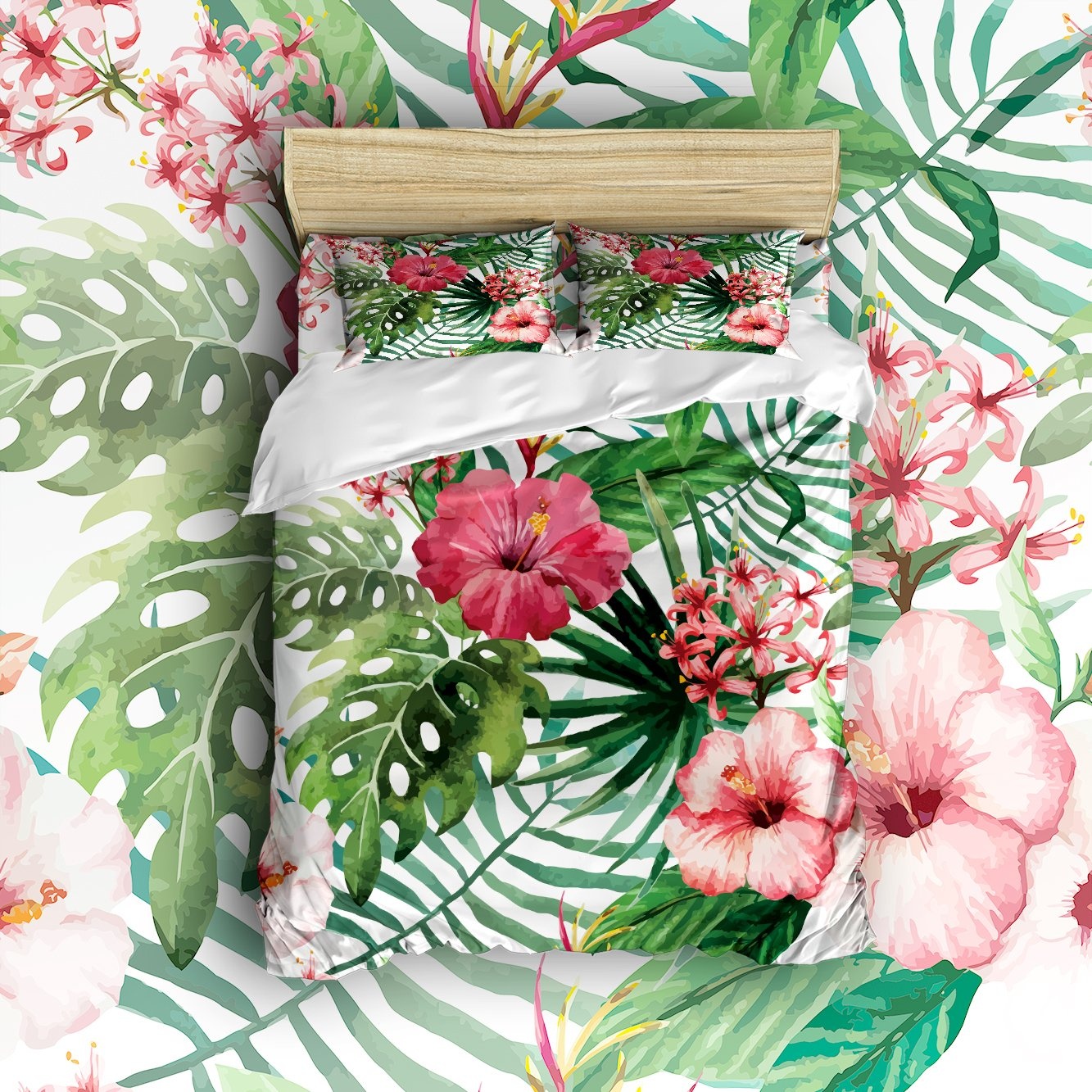 Libaoge 4 Piece Bed Sheets Set, Tropical Wild Orchid Flowers with Palm Leaves Print Exotic Style Nature Artwork, 1 Flat Sheet 1 Duvet Cover and 2 Pillow Cases
