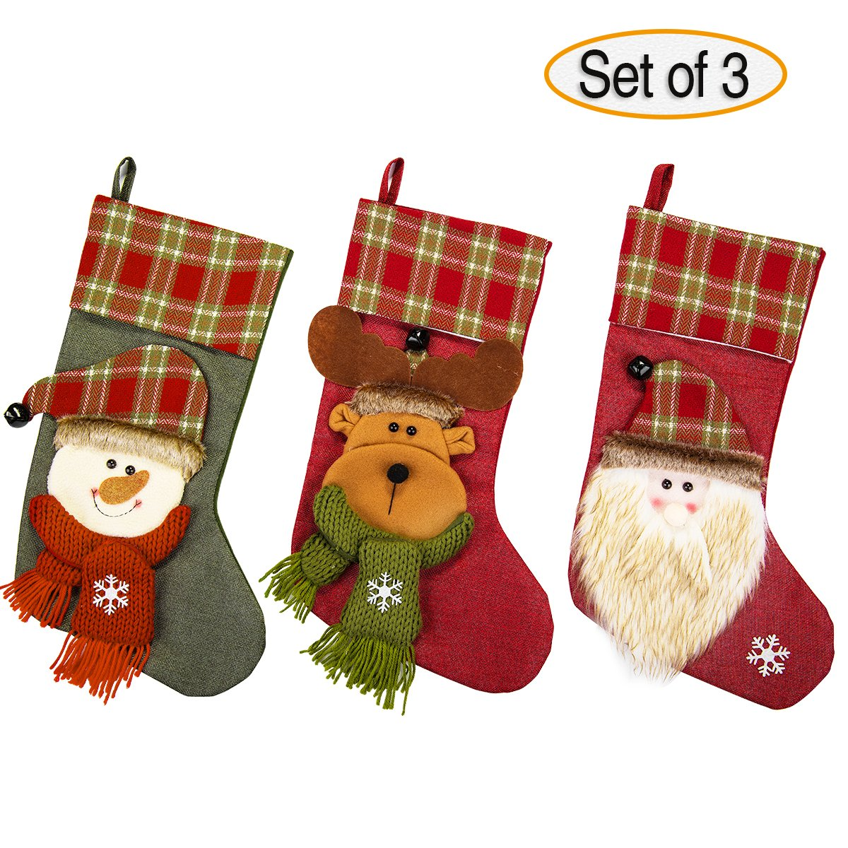 NONZERS Lovely Christmas Stockings-Classic Christmas Stockings, 3 Pcs of Xmas Gift Candy Bag, Santa Snowman Reindeer Toys Stockings, 3D Applique Style Christmas Stockings Decoration for Kids (17.7Lx7.5W)