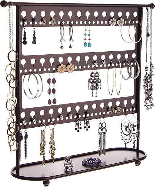 Amazon Com Angelynn S Large Dangle Hoop Earring Holder Big Earrings Jewelry Organizer Hanging Display Case Stand Storage Rack Laela Oil Rubbed Bronze Home Kitchen