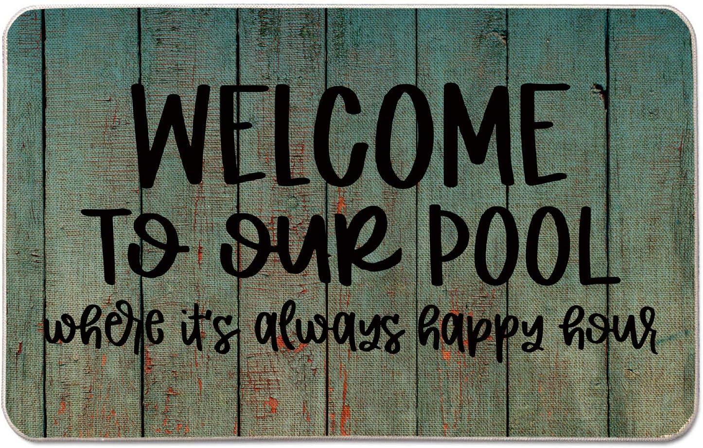 Occdesign Welcome Mat for Front Door Farmhouse Rustic Decorative Entryway Outdoor Floor Doormat Durable Burlap Outdoor Rug   Welcome to Our Pool