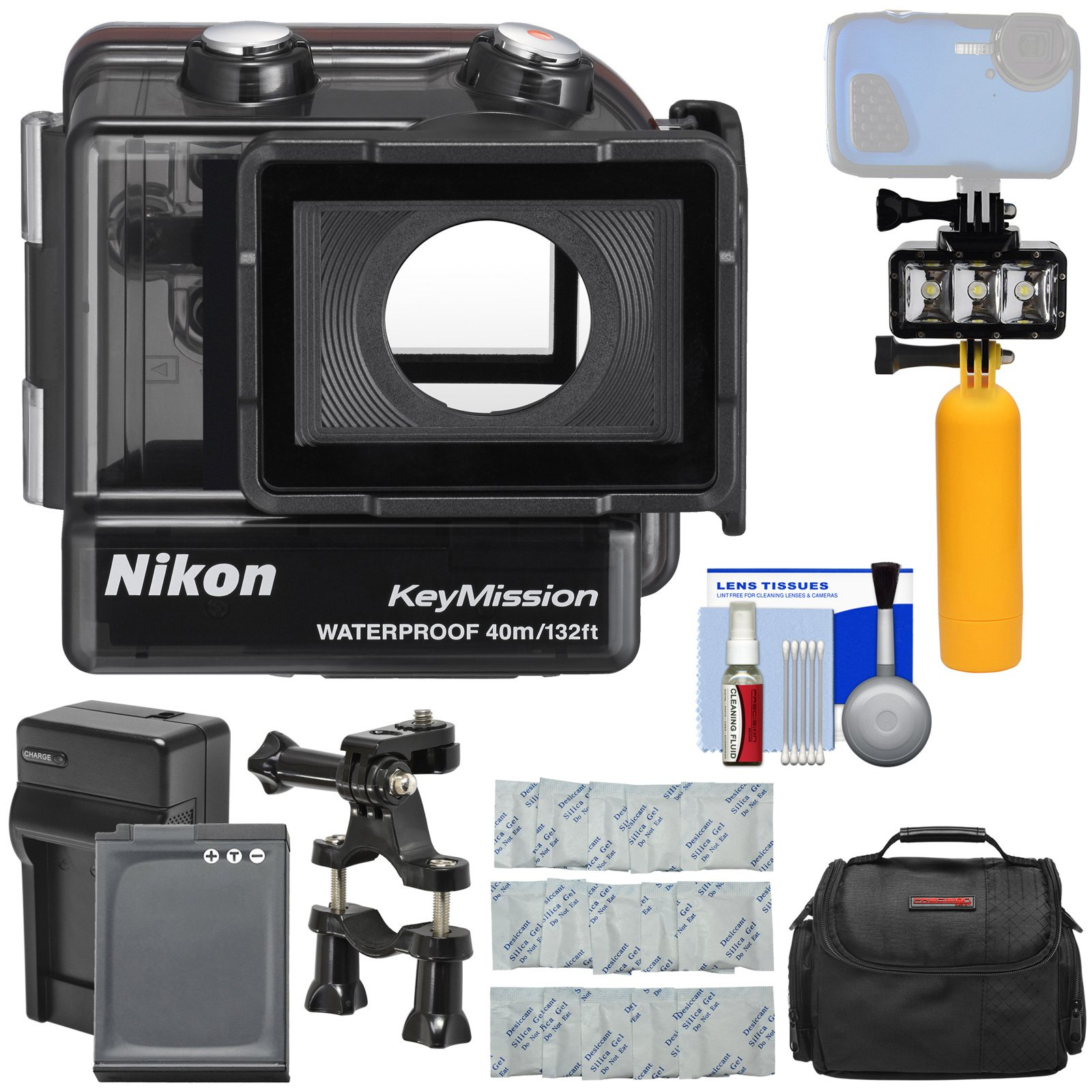 Nikon WP-AA1 Waterproof Case for KeyMission 170 with Case + EN-EL12 Battery & Charger + Underwater Video Light + Float Handle + Bike Mount + Kit by Nikon