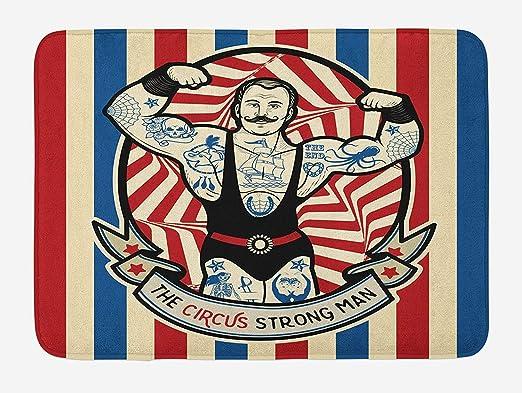 LnimioHOX Circus Bath Mat, Icono nostálgico The Strong Man con ...