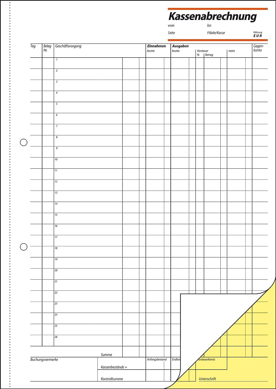 """2 x 50 Blatt A4 sigel Formularbuch /""""Kassenabrechnung/"""""""