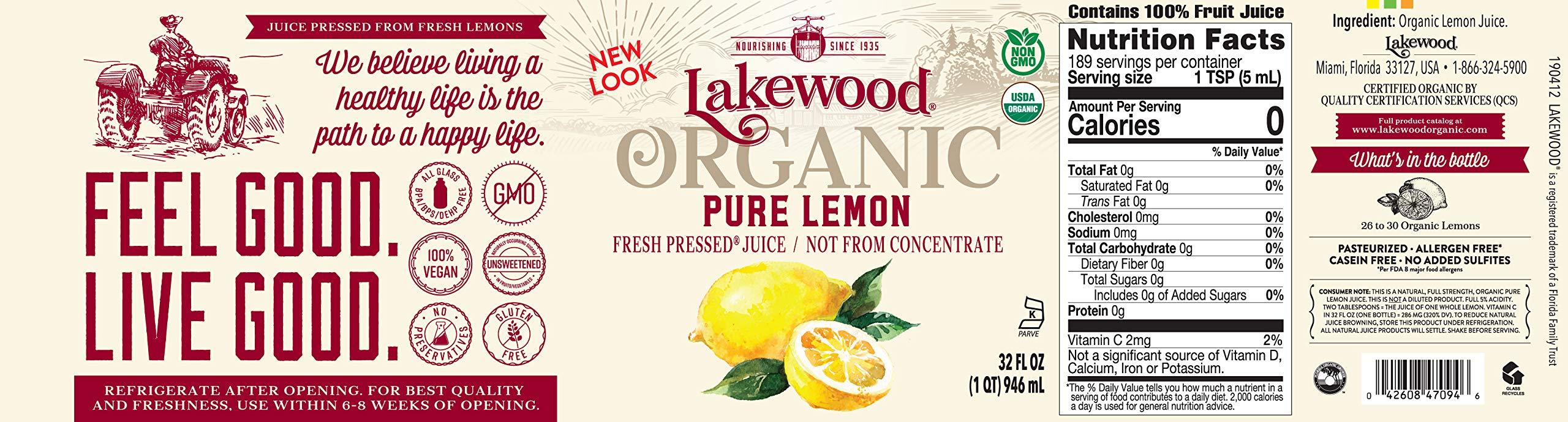 Lakewood Organic Pure Lemon, 32 Ounce (Pack of 6) by Lakewood (Image #4)