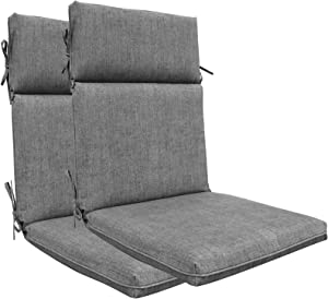 BOSSIMA Indoor Outdoor High Back Chair Cushions Replacement Patio Chair Seat Cushions Set of 2 (Olefin Light Grey)