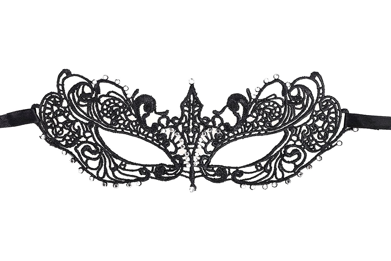 AshopZ Women's Classic Goddess Venetian Masquerade Lace Eye Mask Black