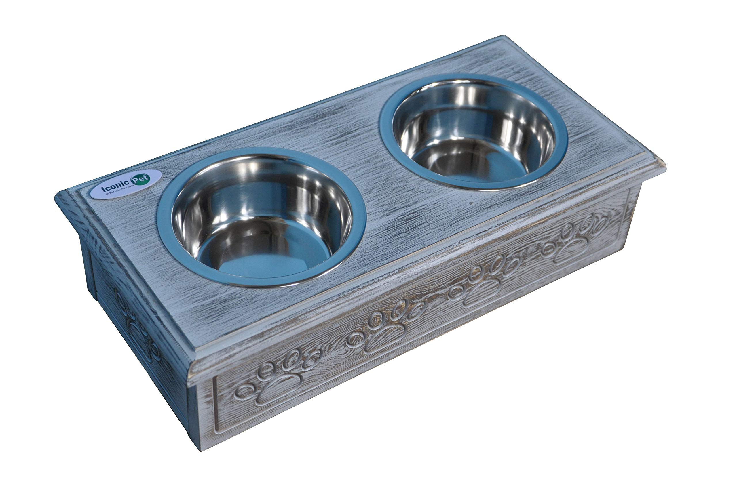Iconic Pet Sassy Paws Wooden Pet Double Diner with Stainless Steel Food & Water Bowls for Dogs & Cats by Iconic Pet