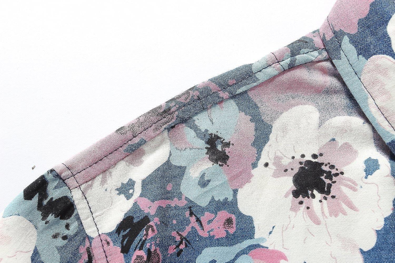 SSLR Mens Printed Casual Short Sleeve Denim Button Down Shirt