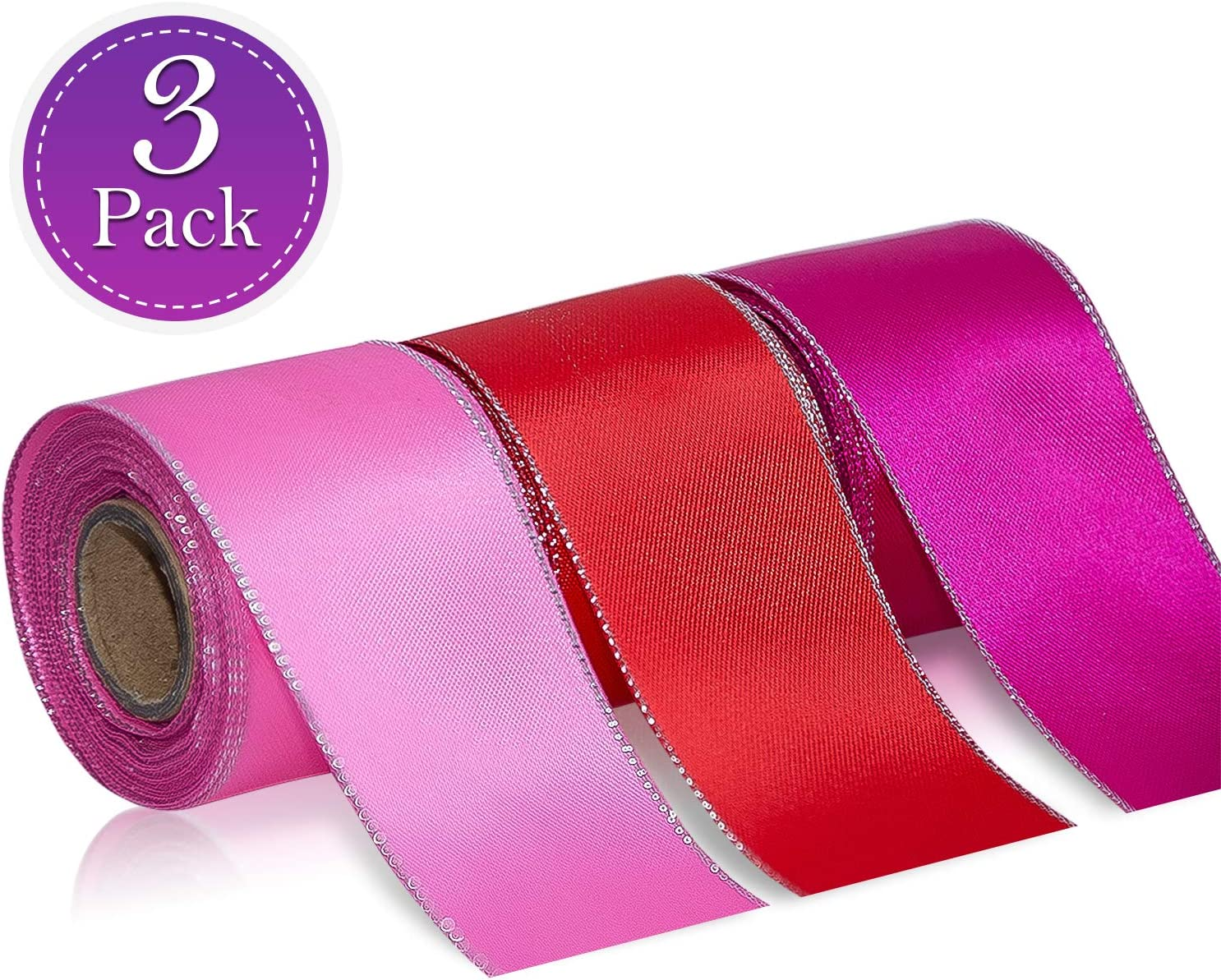 Wooppa 3pcs Sheer Chiffon Ribbon 1.5Inch×5 Yards Dusty Rose Fading Ribbon Set for Wedding Gift Package Valentines Bouquets Wrapping Birthday Baby Shower Home Decor Wreath Decorations Fabric