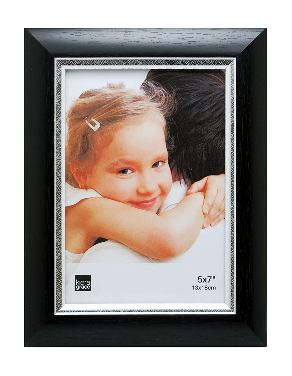 Kiera Grace Karla Picture Frame Black with Brushed Silver Line AZ Home and Gifts PH43840-9 5 by 7 Inch