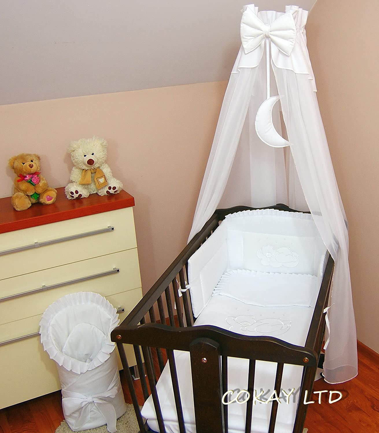 CANOPY drape with Free Standing HOLDER- to fit baby swinging crib/wicker basket/craddle (WHITE MOON) COKAY LTD