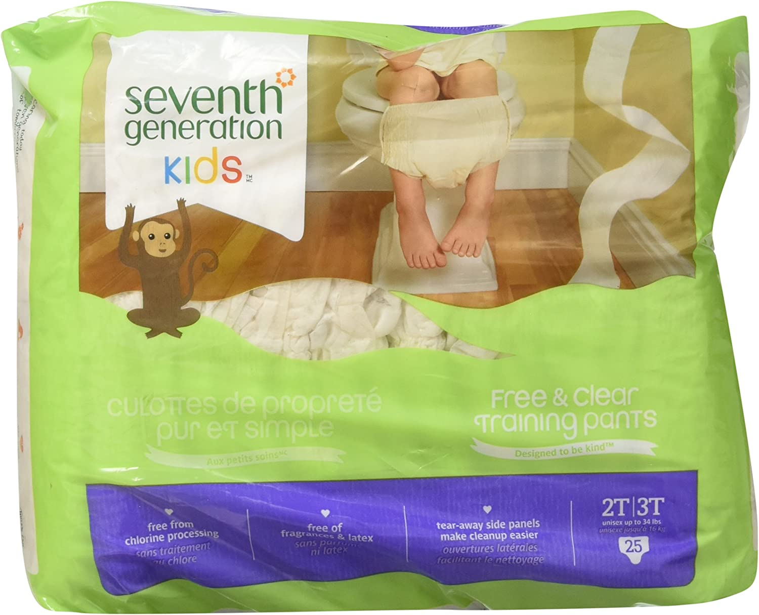 Packaging may vary Seventh Generation Free and Clear 27ct Size 4 Unbleached Baby Diapers