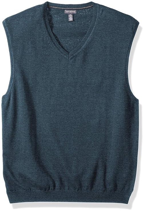 Van Heusen Men's Solid Jersey Sweater Vest, Wing Teal Heather, XX-Large