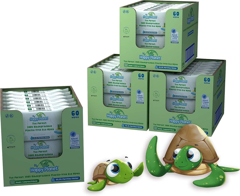 sin alcohol Vegano Ecol/ógico Sin fragancia sin pl/ástico My Happy Planet Toallitas h/úmedas para beb/és 100/% biodegradables 99.9/% de agua purificada 12 paquetes, 720 toallitas Compostable
