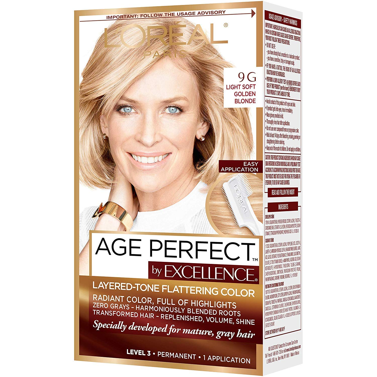L'Oreal Paris ExcellenceAge Perfect Layered Tone Flattering Color, 9G Light Soft Golden Blonde (Packaging May Vary)