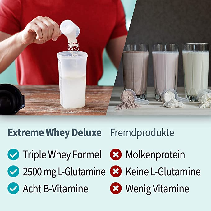 Body Attack Extreme Whey Deluxe, proteína en polvo con aminoácidos y complejo de triple suero con aislado de suero, proteína en polvo perfectamente ...