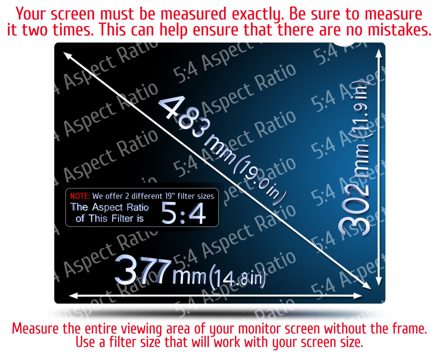 19 Inch - 5:4 Aspect Ratio Computer Privacy Screen Filter for Square Computer Monitor - Anti-Glare - Anti-Scratch Protector Film for Data Confidentiality - Please Measure Carefully! by VINTEZ (Image #2)