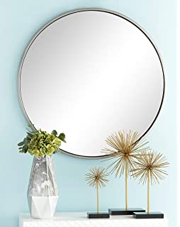 1b15ead28711 Deco 79 56970 Large Round Contemporary Wall Mirror in Metallic Silver Frame